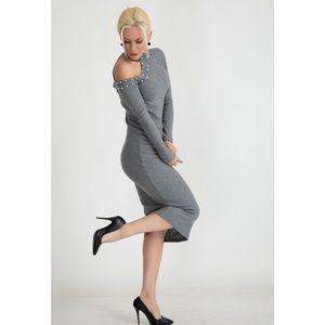 Heathered Gray Beaded Cold Shoulder Midi Dress